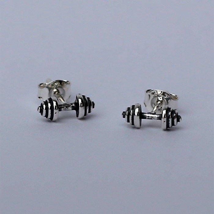 fit kolekcja dumbbell earrings sterling silver studs